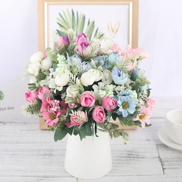 Rose Artificielle Fleurs De Soie Bouquet De Haute Qualité 12 têtes Faux Fleurs Daisy Bud Décoration pour Mariage Maison Mousse Accories