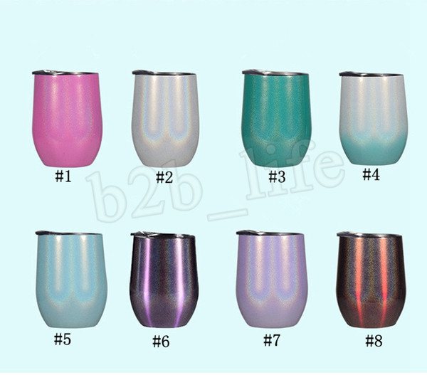 12oz Радуга стакан вина Gliter вино стакан из нержавеющей стали Кубок Яйцо черешка небьющиеся Дети кружка с вакуумной изоляцией питьевой чашки MMA2905-2