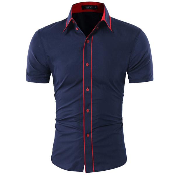 Brand 2019 Fashion Male Hawaiian Shirt Short-sleeves Tops Double Collar Button Design Mens Dress Shirts Slim Men Shirt Xxl