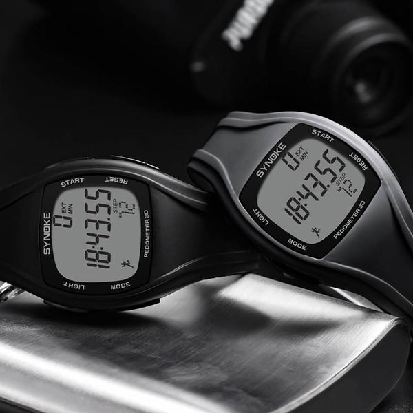 Saat Мужские Часы Модные Спортивные Часы Synoke Калорий Шагомер Хронограф Открытый Наручные Часы Круглые Стеклянные Пряжки Reloj
