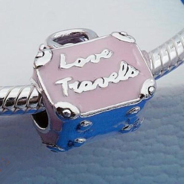2019 frühling diy lose perle 100% 925 sterling silber rosa reisetasche charme passt europäischen pandora schmuck diy armbänder halsketten anhänger
