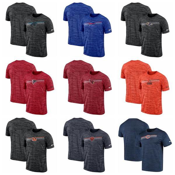 Nueva camiseta de algodón de los hombres 2020 cardenales Falcons Ravens Bills panteras osos Bengals Browns línea lateral de velocidad camiseta del funcionamiento heathered