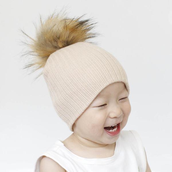 0dfdbb691 Fashion INS new baby hat children winter knitting woollen cap Knitwear 14CM  big fox hair ball