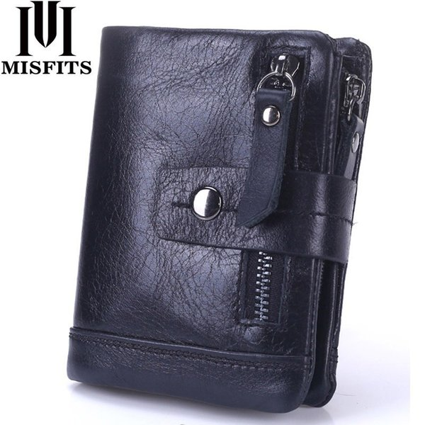 2019 New Genuine Leather Men Wallets Casual Zipper Coin Purse With Card Holder Brand Cowhide Long Wallet Clutch For Male