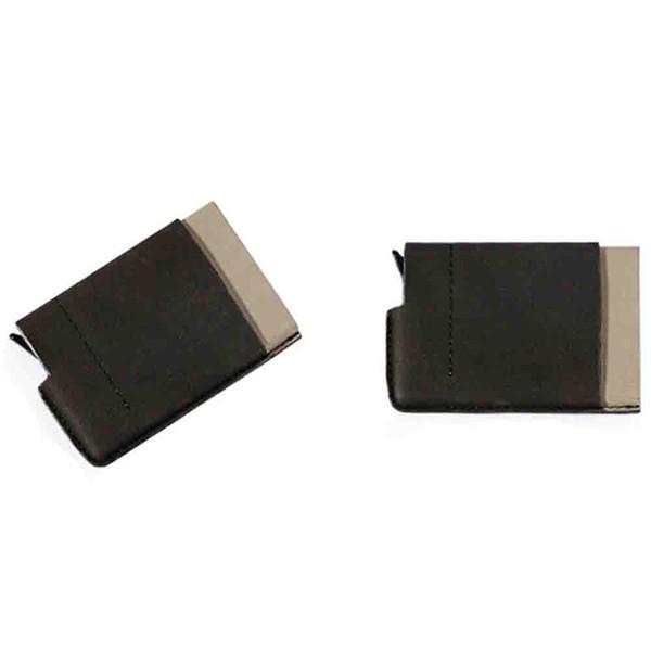 Nueva marca de cuero nombre de la empresa titular de la tarjeta de presentación de libro con el contenedor de cierre magnético pasaporte titular de la cartera de crédito