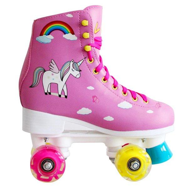 Bambini 4 Led Light equilibratura delle ruote Pattini Pattini a rotelle doppio Quad Skate di alta qualità per la sicurezza per principianti Skates