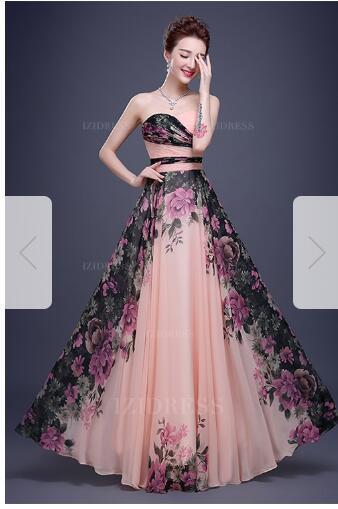 A-Line/Princess Sweetheart Floor-length Chiffon Prom Dressw74