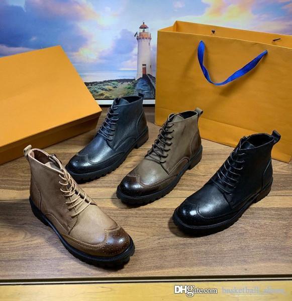 Louis Vuitton erkekler Bilek Boots Punk Dr. Motosiklet ayakkabı erkekler Kalın Topuk İngiliz tarzı Platformu 2020 Erkekler yüksek kesimli takım Gerçek Deri Martin Çizme