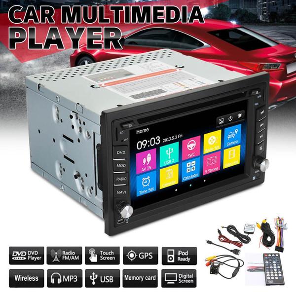 6.2 Polegadas Dupla 2DIN Car DVD Player Estéreo Bluetooth Navegação GPS HD USB Câmera de TV TFT Controle Remoto