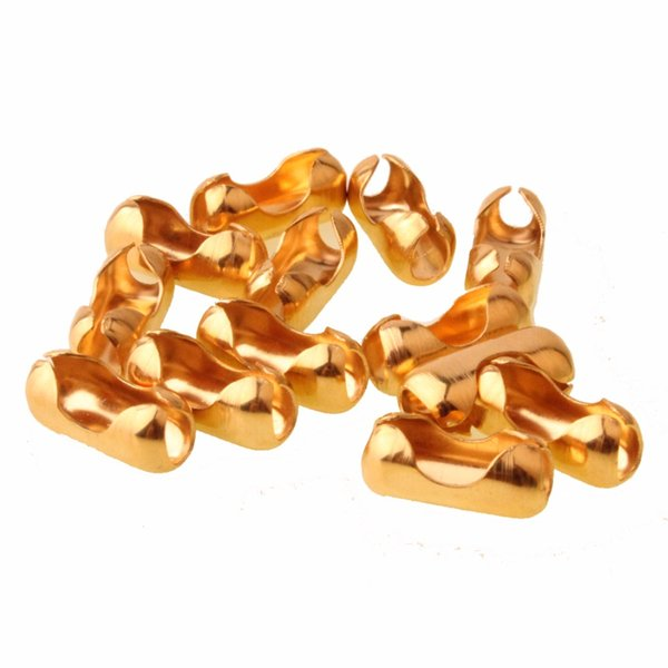 100PCs 1.5/2/3.2/4/6/8/10/12mm Stainless Steel Ball Chain Connector Clasps End Beads Crimp Gold Color DIY Findings Accessories
