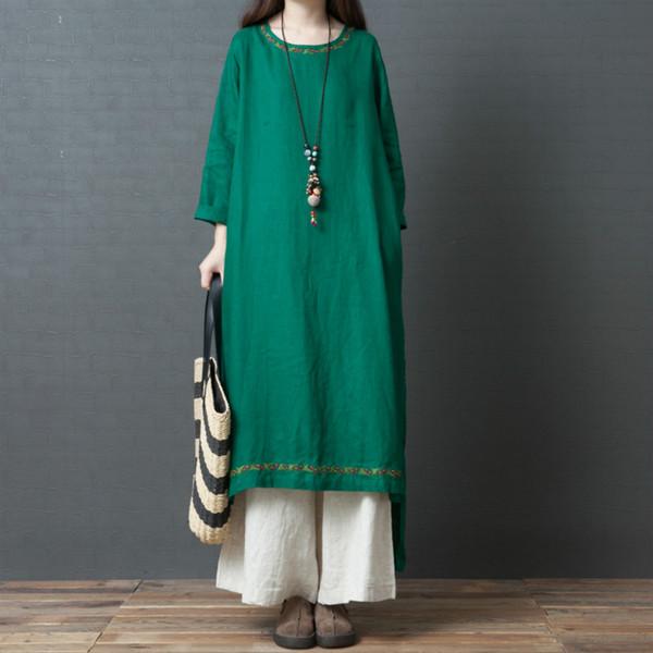 Women Spring Summer Cotton Linen Dress Ladies Solid Irregular Hem Comfy Dress Female Vintage Enthic 2019 Dress Plus Size L XL 2X