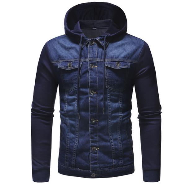 Nuevo 2018 Hombres Jeans Chaquetas Hombres con capucha Otoño Invierno Abrigo para hombre Clásico Ropa sólida M-3XL