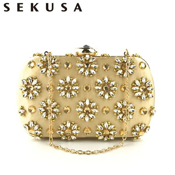 Sekusa Vintage Handmade Embroidery Beaded Women Clutches Diamonds Wedding Party Handbags Small Female Crystal Purse Q190429