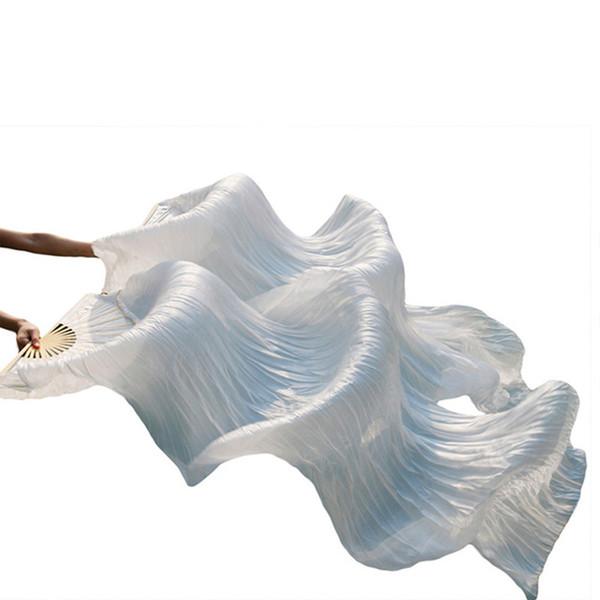 Vente chaude Femmes De Haute Qualité Chinois Soie Veil Dance Fans 1 Paire De Danse Du Ventre couleur unie soie long ventilateur pas cher blanc couleur