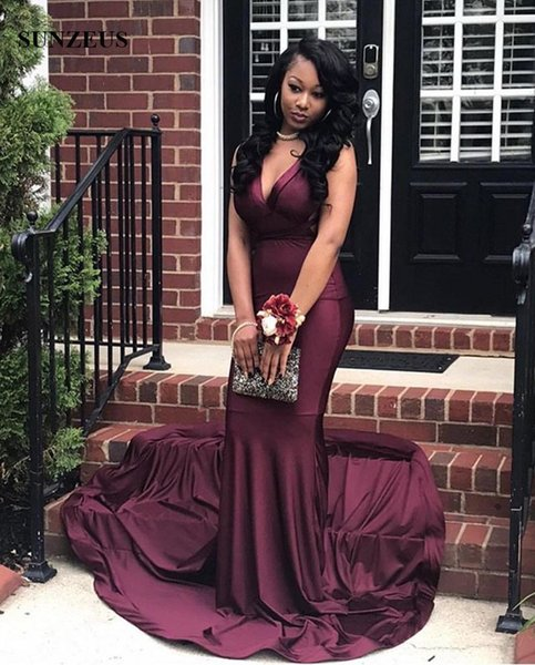 Mermaid Burgundy Party Gowns 2019 Criss-cross Back Sexy Prom Dress For Black Girls Simple Jersey Long Robe vestido longo formatura