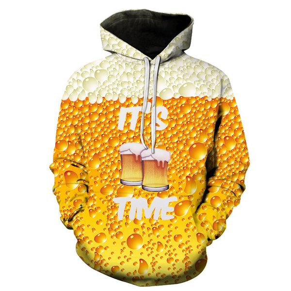 Mode 3D impression bière à capuche rue Casual Hip Hop vent Sweat drôle bière imprimer Homme / Femme Universel Hoodie Top