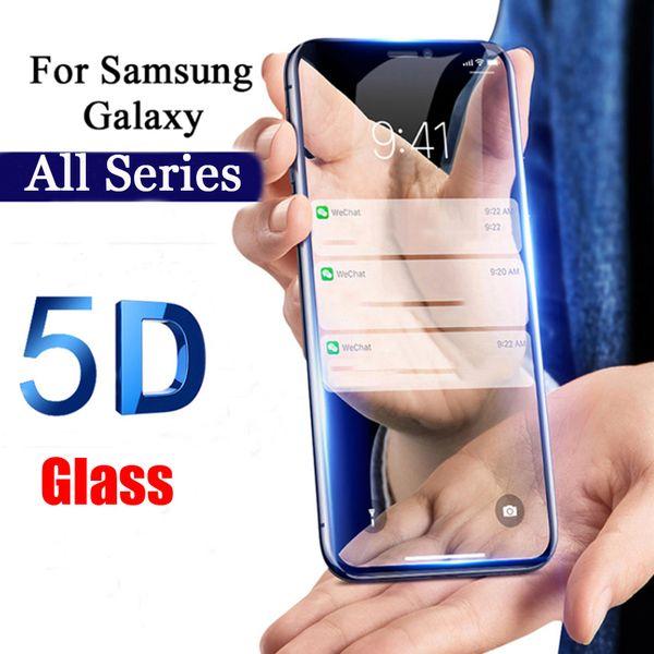 5D cubierta completa de vidrio templado para Samsung Galaxy A7 2018 A750 A8 A8 Plus A6 A6 Plus A3 A5 A7 2017 Protector de pantalla de cine