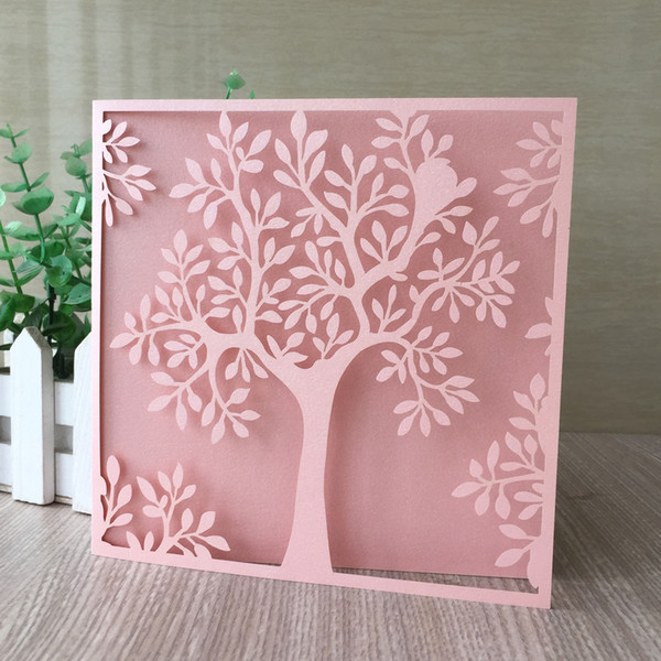Compre 35 Unids Lote Tarjetas De Invitaciones De Boda Exquisito Diseño De árbol Con Encaje Bautismo Año Nuevo Género Revelar Jubilación Suministros