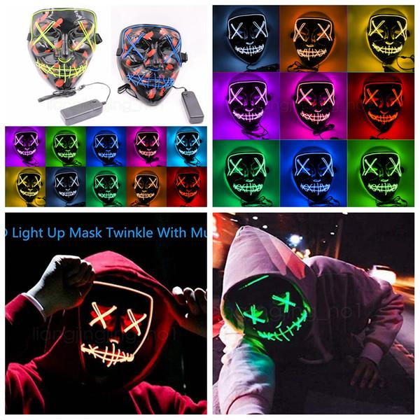 Хэллоуин Маска LED Up Up Party Маски танцевальная вечеринка Веселые Маски Фестиваль Косплей Костюм Поставки реквизита Светятся В Темноте FFA2927