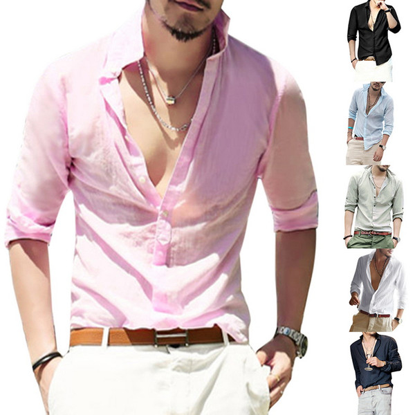 Mens White Sexy Linen Shirts Long Sleeve Business Shirt Brand Male Slim Fit Casual Solid Flax dress shirt high quality