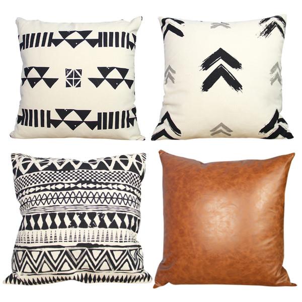 Özel Beyaz Şifreli Pamuk Keten Yastık Karikatür Bahar Minimalistik Geometrik Noel Amazon Patlama Pillowcase18