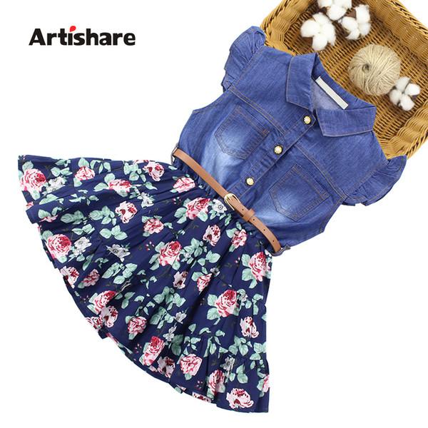 Artshare Denim Floral For With Belt Teenage Dress Girls 6 8 10 12 Years Flower Kids Summer Clothes J190508