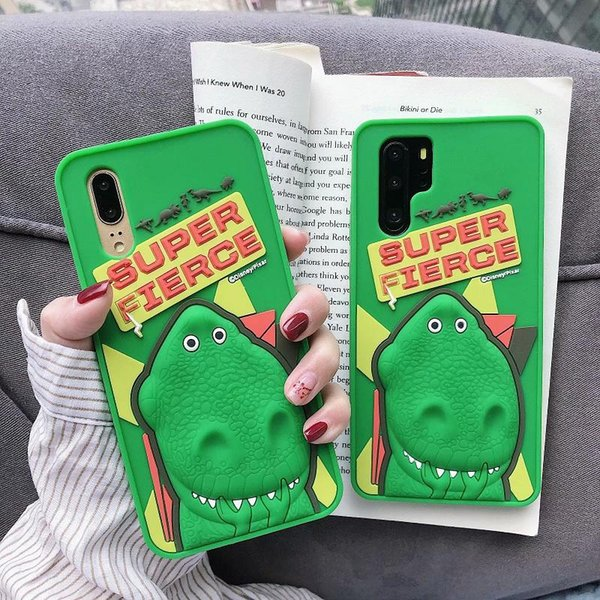 For Huawei P20 P30 Mate 20 Y9 2019 Case 3D Cartoon Dinosaur Animals Soft  Silicone Rubber Shockproof Phone Case Cover For Honor 8X Play Phone Cover