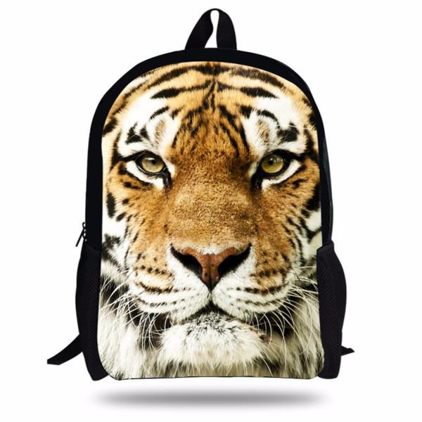 New 16-Inch Cool Animal Printing Backpacks For Teenage Girls School Bag White Tiger Head Backpack For Children Tiger Print bag