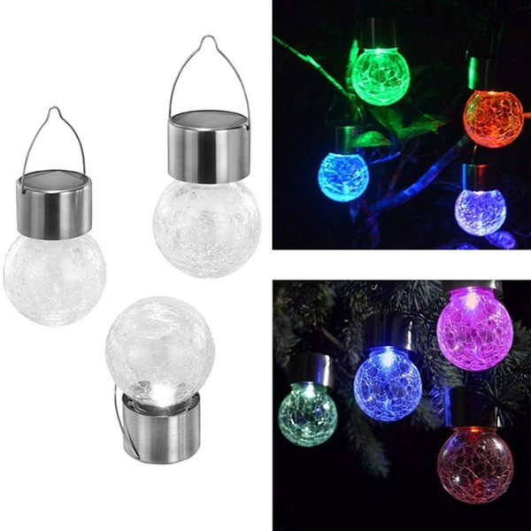 Crackle Glass Ball Lamp Color Changing Crackle Glass LED Light Hang Outdoor Solar Powered Lawn Lamp Garden Decorations CCA11820 50pcs
