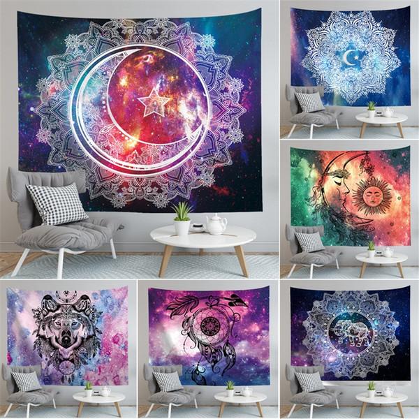 Mandala Beach Towel Digital Printing Polyester Fiber Fashion Tapestries Bardian Home Furnishing Decor Starry Sky Blue White Blanket 27yc4D1