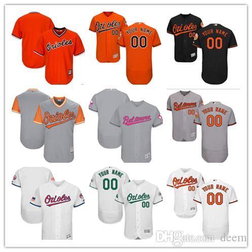 Personalizado homens mulheres juventude Majestoso BAL Orioles Jersey Personalizado # 00 Qualquer Seu nome e número Laranja Camisas de Basebol Laranja