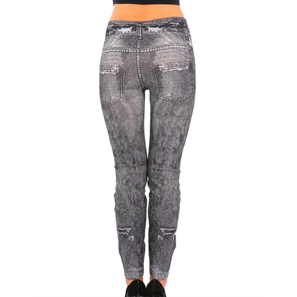 LASPERAL 2018 New Women Fashion Jeans Skinny Bleached Holedistressed Pants Mujer Ladies Streetwear Blue Long Mid Waist Jeans