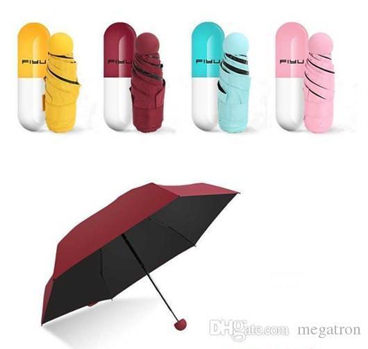 Capsule Case parapluie pliable ultra léger Mini parapluie de poche compact parapluie coupe-vent pluie soleil Parapluies
