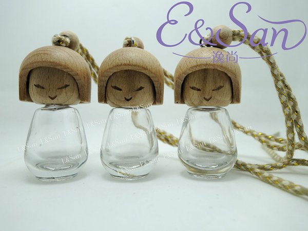 wholesale 8ML transparent cute doll car ornaments glass perfume bottles with wood cap wholesale free shipping