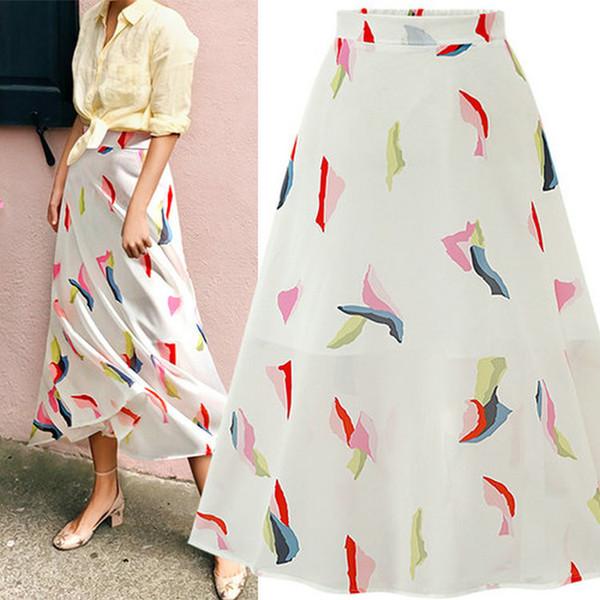 91a1ece86 Chiffon Skirt for Women Floral Printed Elastic Waist Skirt Summer Big Swing  Skirts