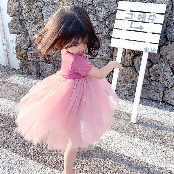 2019 summer new girls, small children, small body, 5 colors, candy color, ballet skirt, princess dress, stitching mesh dress
