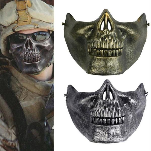 Máscara assustadora Máscara de Halloween Máscara de Esqueleto Do Crânio Máscaras Metade do Rosto para Festa de Halloween Festa Adereços Suprimentos Suprimentos