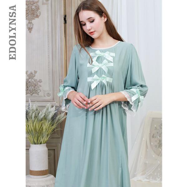 Algodão verde bowknot lace night dress outono sleepwear mulheres camisola longa camisola plus size nightwear senhoras homewear t325mx190822