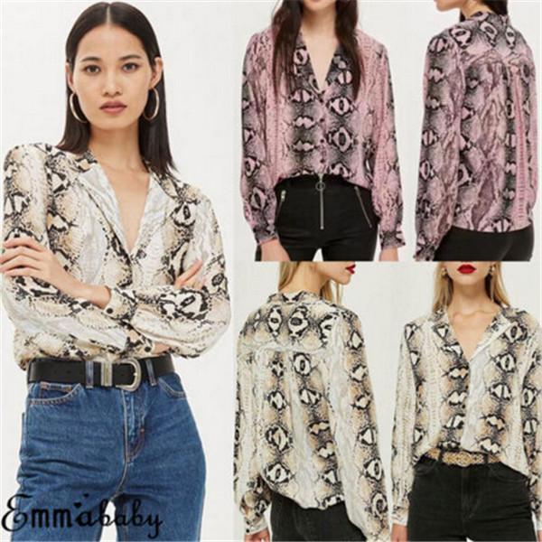 2019 Women Summer Leopard Long Sleeve Button V Neck Snakeskin ... 71155fc57