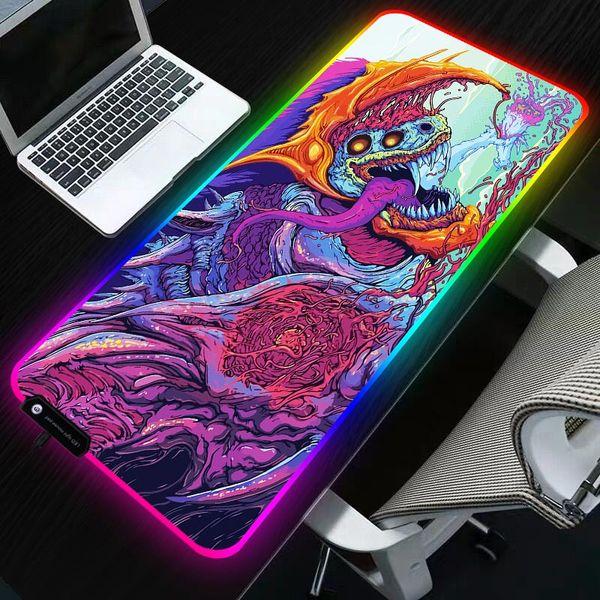 Sovawin 800x300 Große Große LED RGB Beleuchtung Gaming Mousepad XL Gamer Matte Grande Mauspad cs go Hyper Beast für PC Computer