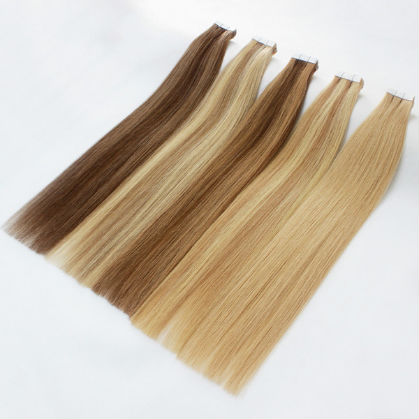 top grade Tape in hair extensions 40pcs / pack remy hair skin weft colors blonde Double Sides Adhesive brazilian indian human hair