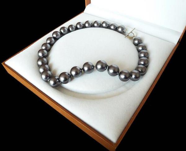 Jewelryr Perlenkette seltene enorme 12mm echte Südsee-Schwarz-Oberteil-Perlen-Halsketten-Herz-Haken 18 '' freies Verschiffen