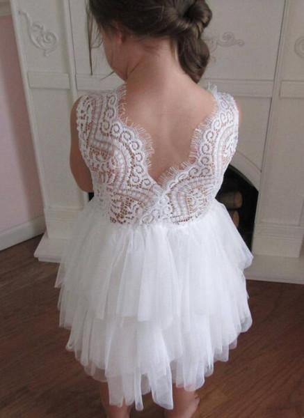 Beach Flower Girls' Dresses Bohemia 2019 First Communion Dress For Little Girl tiered lace applique backless A-Line Cheap Kid Wedding Dress