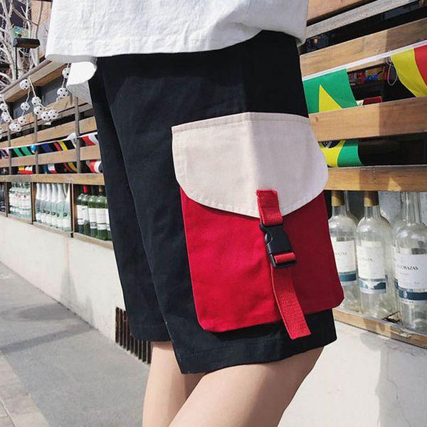 Großhandel 2019 Sommer Fracht Hip Hop große Tasche Baumwolle Patchwork lose Band Trekking Wandern im Freien taktische Shorts Männer