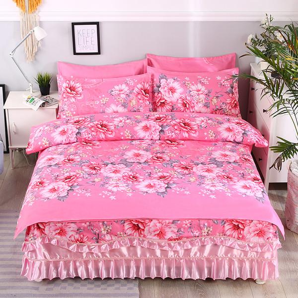 Spring Bloom Pattern Rüschen Bettwäsche Set Full / Queen King Size Mädchen Bettbezug Set Rubber Bedskirt Pink Blue Bed Kissenbezug