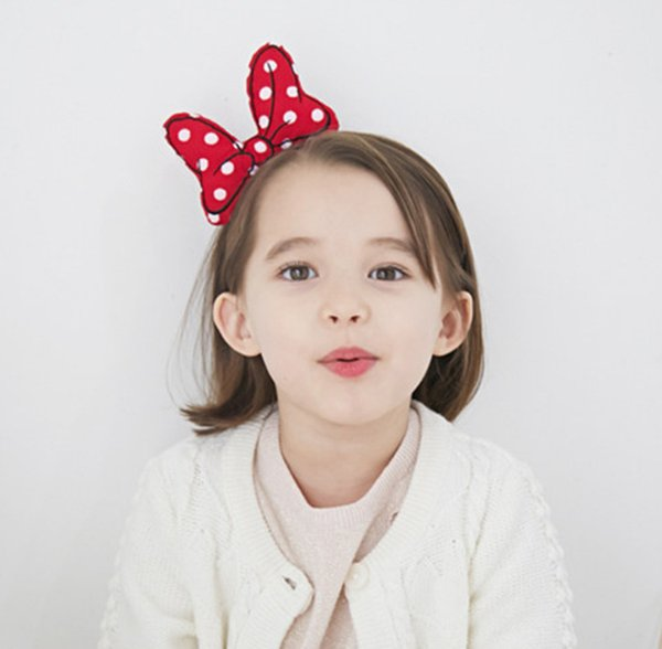 Girls Bows embroidery hair sticks children polka dots Bows princess hairbands boutique kids cartoon party hair accessories F3117
