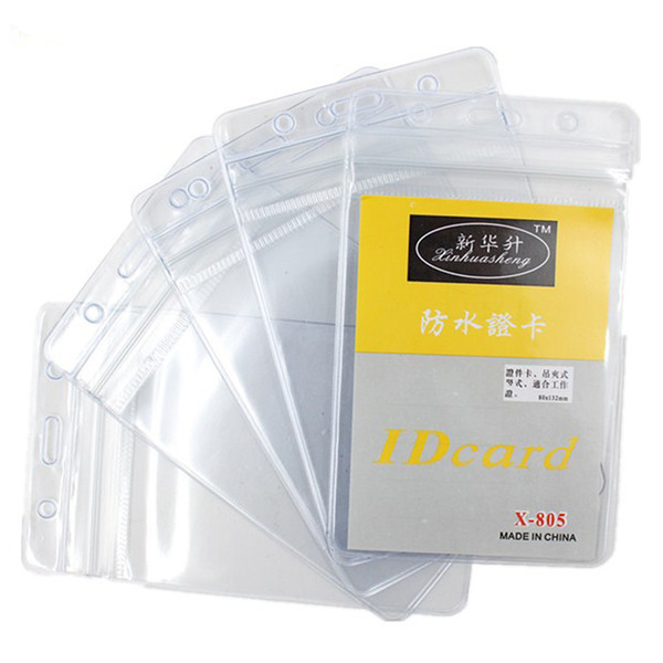 best selling 10 Pcs Set PVC Vertical Lanyard Card Holder Waterproof Soft Working Card Soft Transparency Employee'S Card Bags Badges Holder BH2520 CY