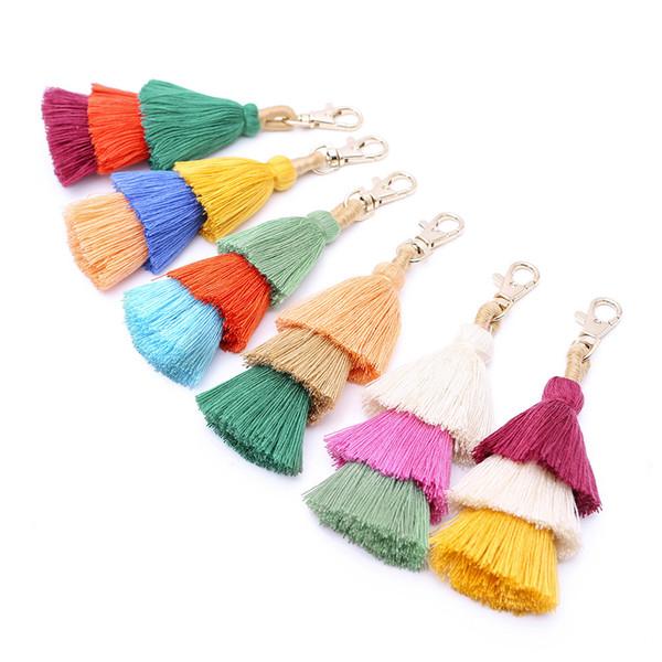 10 Cores Bohemian Estilo Multi Layer Tassel Keychain Gradiente Cor Árvore de Natal Mulheres Handmade Bagchain Chaveiro Presentes de Natal