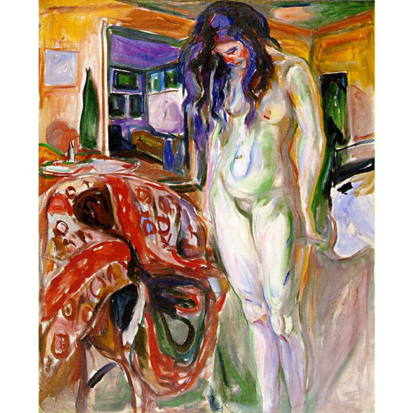 Edvard Munch paintings for sale Model on wicker chair canvas modern art hand-painted