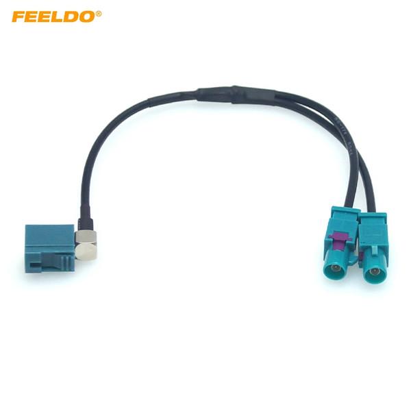 FEELDO Car 1-Way Female Split auf 2x One-Way Male FAKRA2-Z Radio Antennenanschlüsse mit Verstärker für OEM Stereo Head Unit # 6009